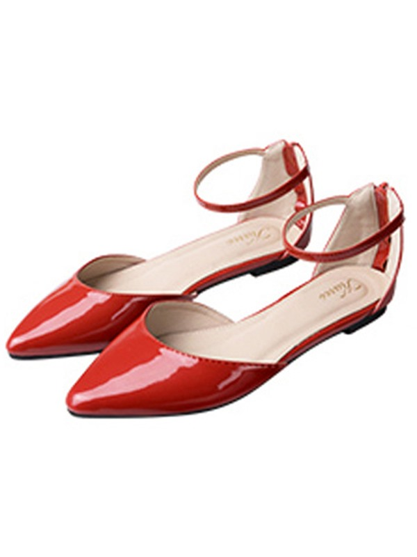 PU Zipper Pointed Toe Line-Style Buckle Women's Flats