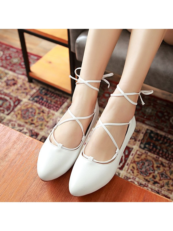 PU Lace-Up Straps Snug Women's Flats