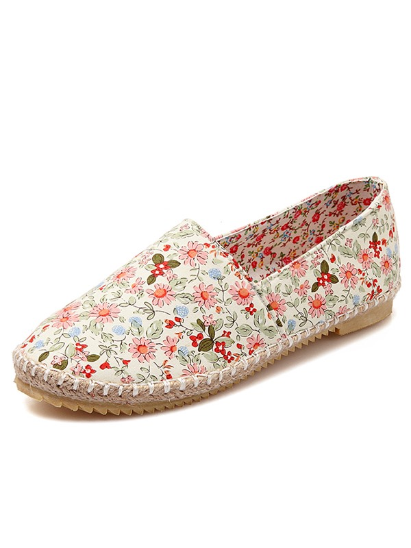 Canvas Floral Round Toe Women's Flats