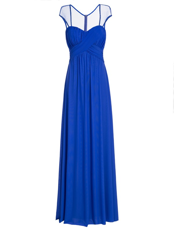 Square Neck Cap Sleeves A Line Evening Dress