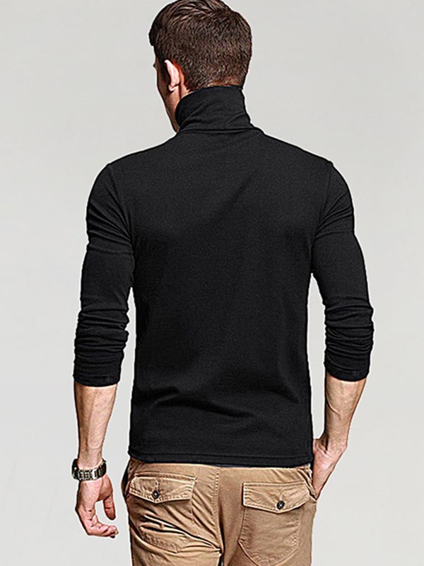 Turtleneck Slim Fit Men's Causal Long Sleeve T-Shirt