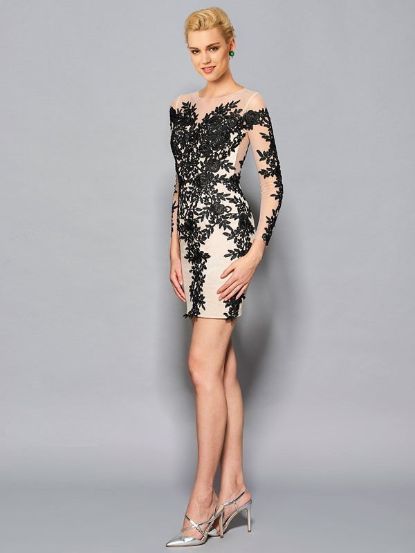 Sheath Scoop Long Sleeves Appliques Lace Cocktail Dress
