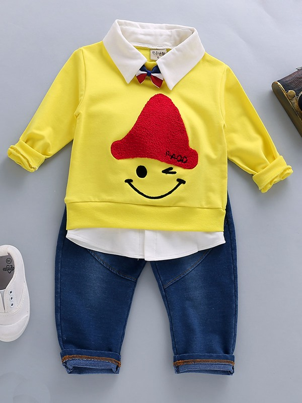 Chic Color Block Lapel Collar Baby's 2-Piece Outfit