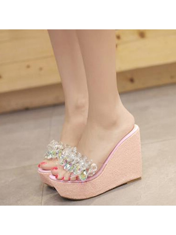 Rhinestone Slip-On Multi Color Women's Wedge Shoes