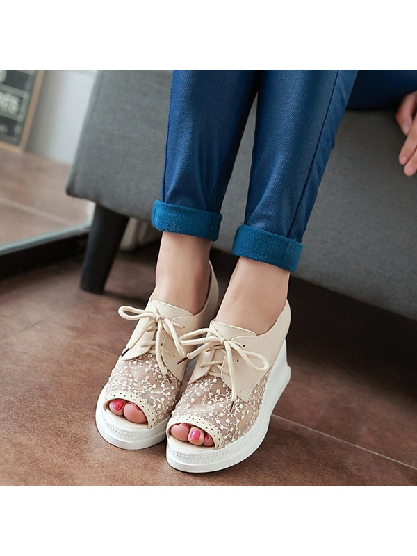 PU Lace Peep-Toe Lace-Up Women's Wedge Sandals