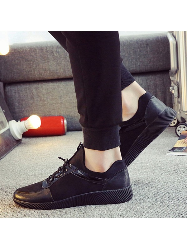 Casual PU Patchwork Plain Lace-Up Men's Sneakers