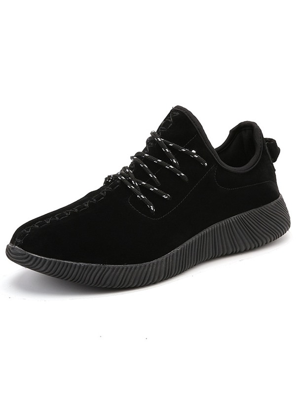 PU Lace-Up Plain Round Toe Comfy Men's Sneakers