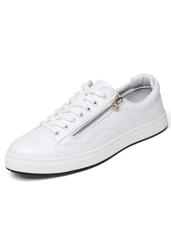 PU Plain Lace-Up Zipper White and Black Men's Sneakers