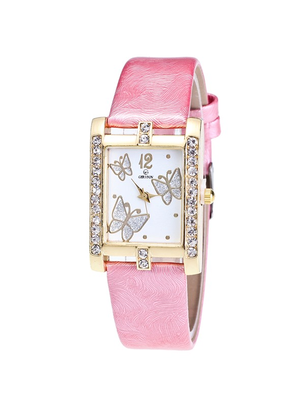 Butterfly Pattern Design Rectangle Dial Women's Watch