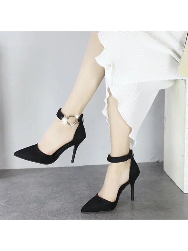 Nubuck Leather Zipper Rhinestone High Heel Classic Pumps