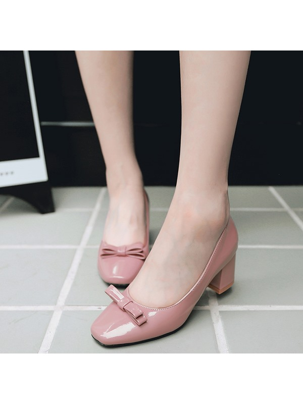 Patent Leather Slip-On Bow Square Toe Women's Shoes