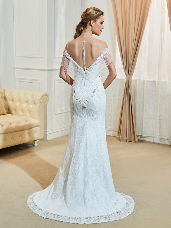 Illusion Neckline Beaded Backless Mermaid Lace Wedding Dress