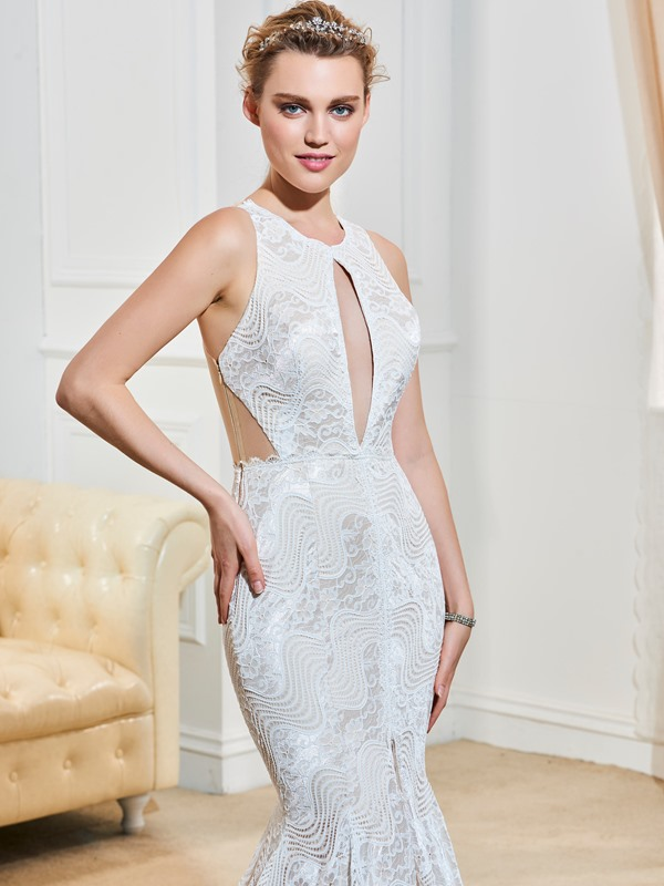 Sexy Hollow Straps Split-Front Mermaid Lace Wedding Dress