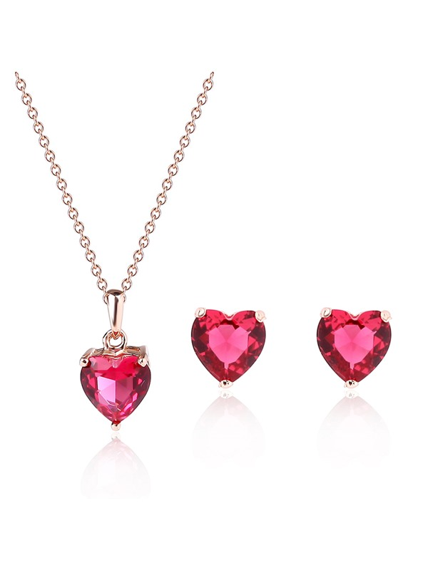 Heart-Shaped Rhinestone Pendant Two-Piece Jewelry Set