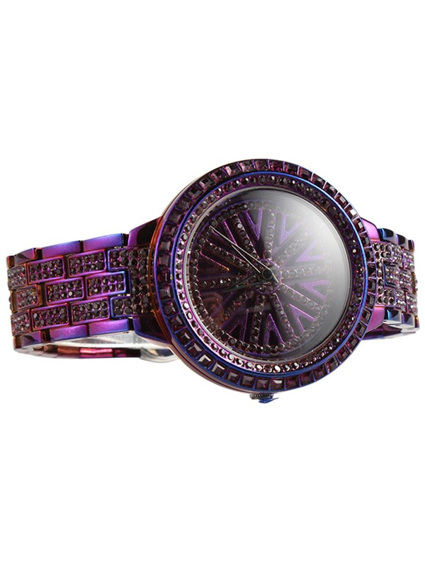Purple Paillette Snowflake Pattern Diamante Steel Strip Crystal Glass Quartz Women's Watches