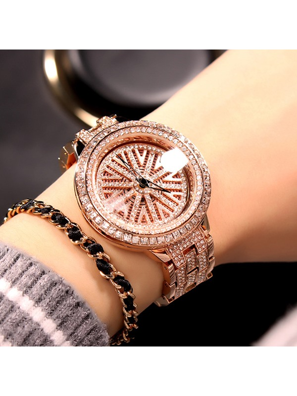 Purple Paillette Snowflake Pattern Imitation Diamond Steel Strip Quartz Women's Watches