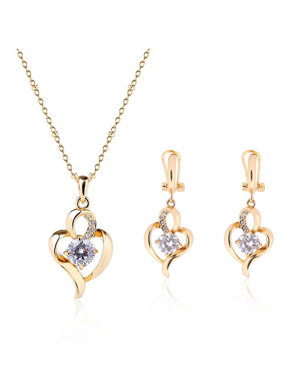 Gold Heart-Shaped Diamante Women's Jewelry Set
