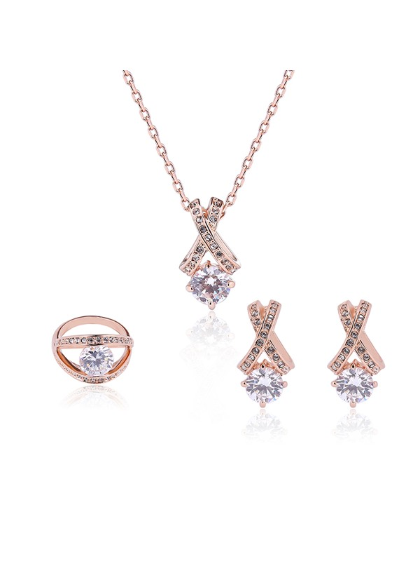 Zircon Inlaid Pendant Three-Pieces Alloy Jewelry Set