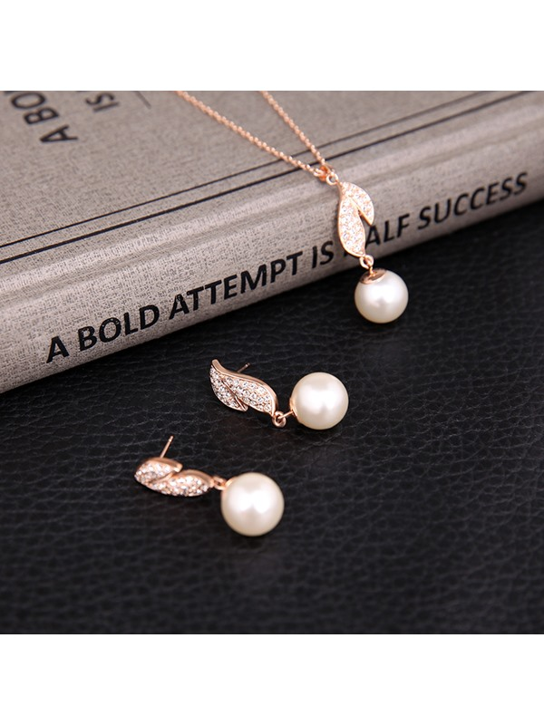 Alloy Diamante Leaf Design Pearl Two-Pieces Jewelry Set