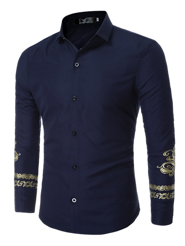 Plain England Style Long Sleeve Men's Shirt