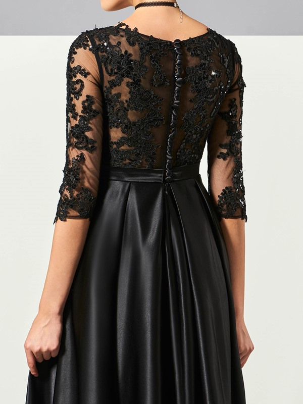 A-Line Scoop Appliques Ruched Evening Dress