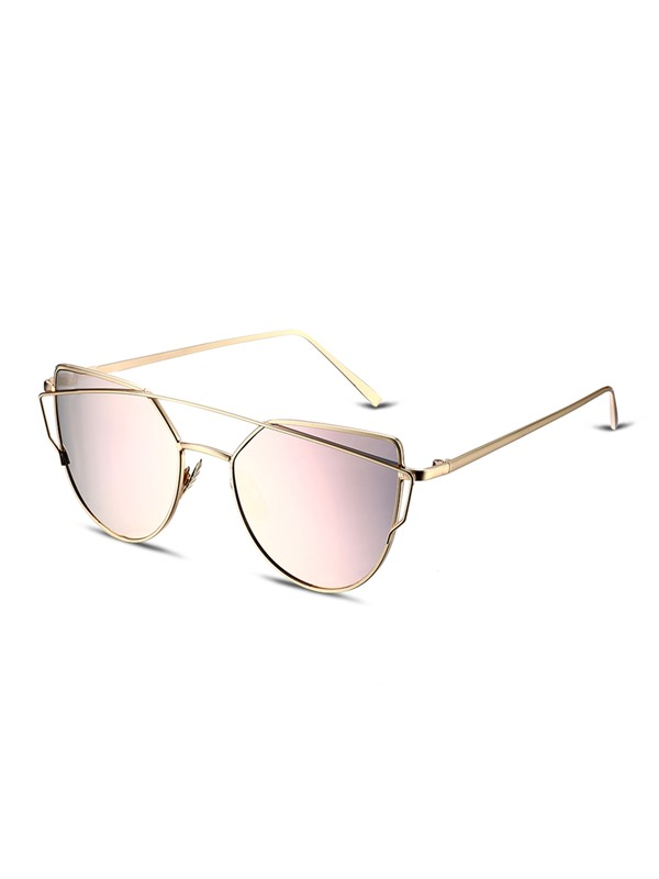 Metal Frame Pink Flat Lenses Fashion Women's Sunglasses