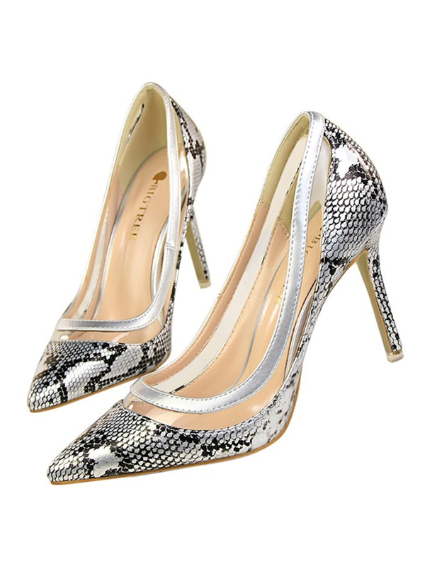 PU Serpentine Slip-On High Heel Women's Pumps