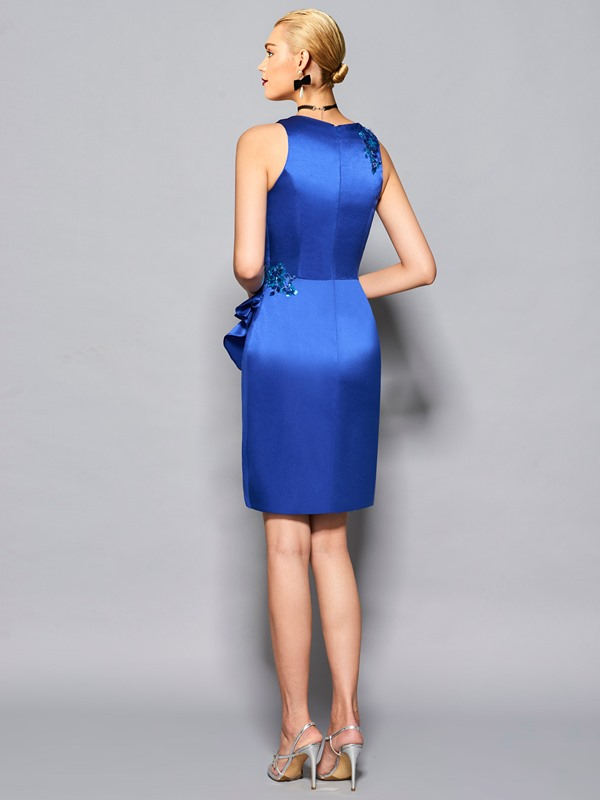 Elegant Sheath Scoop Ruffles Sequins Knee-Length Cocktail Dress