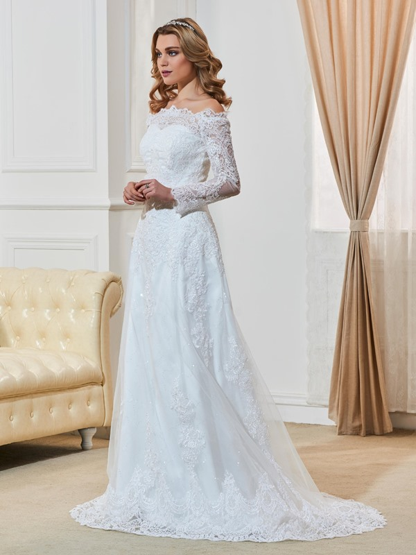 Elegant Off The Shoulder A Line Appliques Long Sleeves Wedding Dress