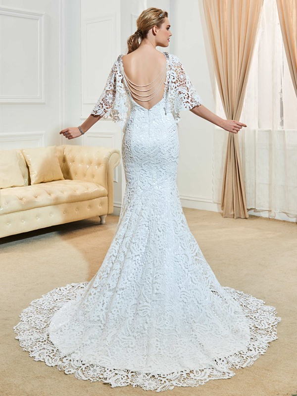 Charming V Neck Beaded Backless Mermaid Lace Wedding Dress