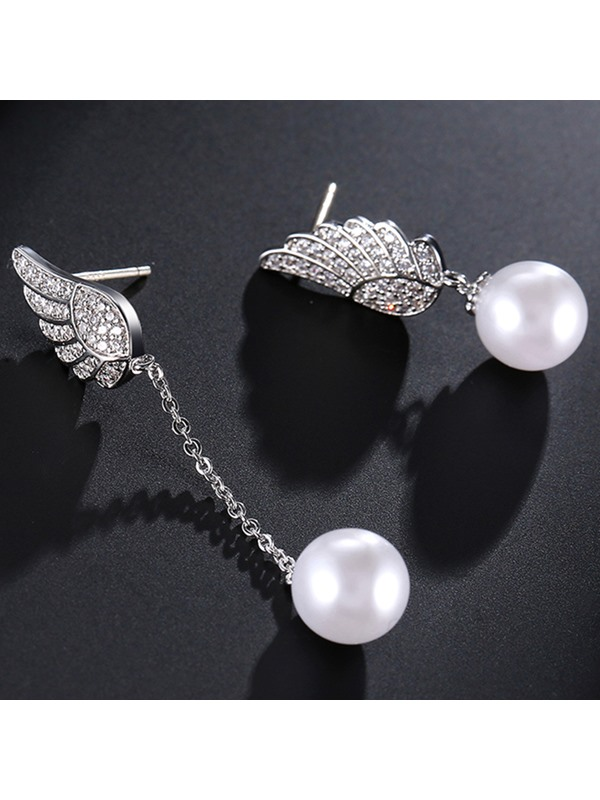 Asymmetric Angel's Wings Design Pearl Earrings