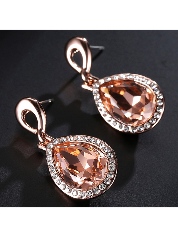 Water Drop Shaped Champagne Crystal Pendant Women's Earrings