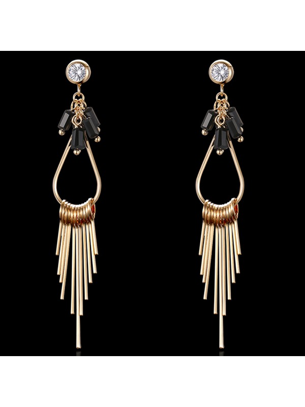 Golden Long Diamante Tassels Women's Earrings
