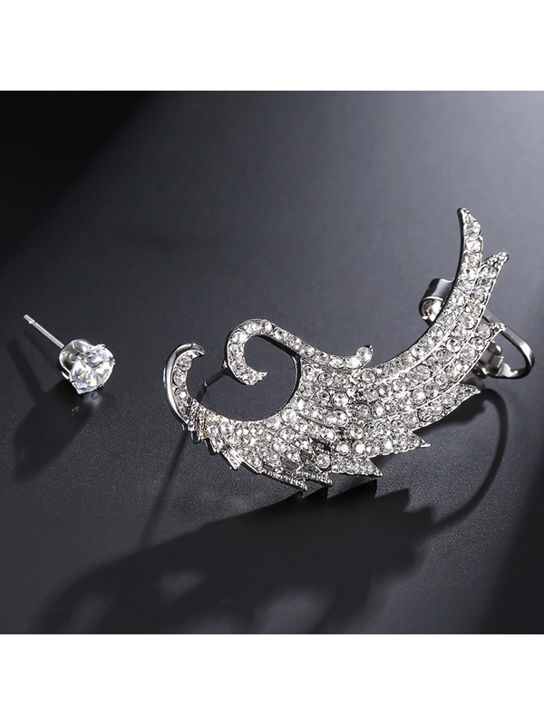 Asymmetric Imitation Diamond Wing Alloy Charmed Earrings