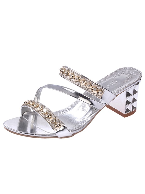 PU Rhinestone Chunky Slip-On Women's Luminous Sandals