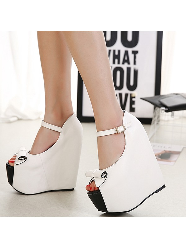PU Line-Style Buckle Platform Bow Women's Wedge Shoes