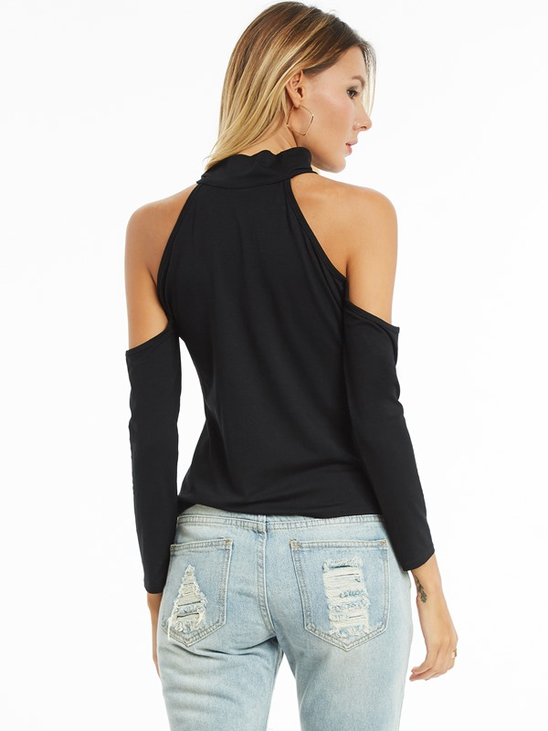 Chic Cold Shoulder Hollow Plain T-shirt