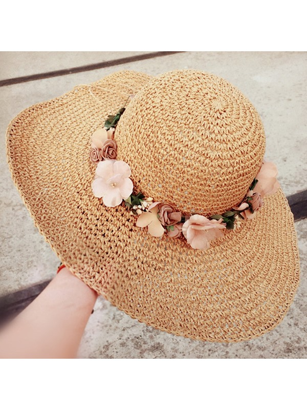 Sweet Flowers Decorated Dome Crown Beach Sun Straw Hat
