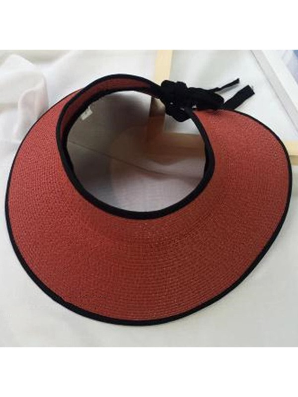Outdoor Casual Visor Crown Pure Color Straw Hat