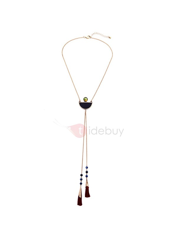 Retro Long Personality Semicircle Gemstone Tassels Necklace