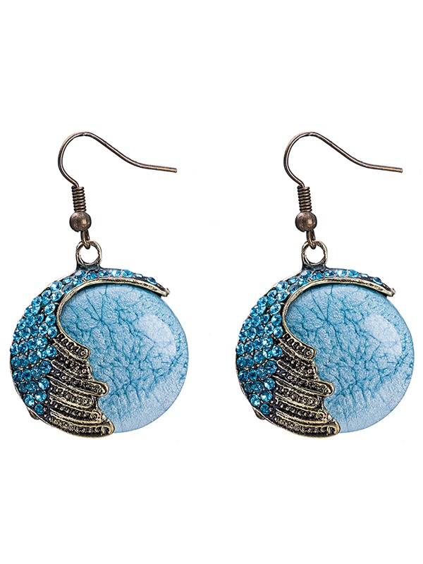 Exquisite Blue Round Glass Pendant Earrings