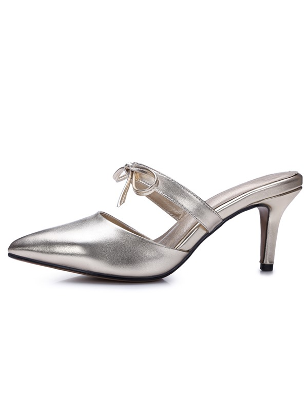 PU Slip-On High Heel Women's Mules