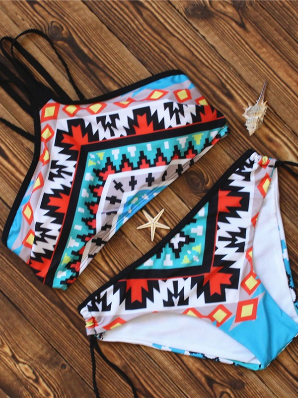 Fashionable Plaid Print Color Block Bikini Set