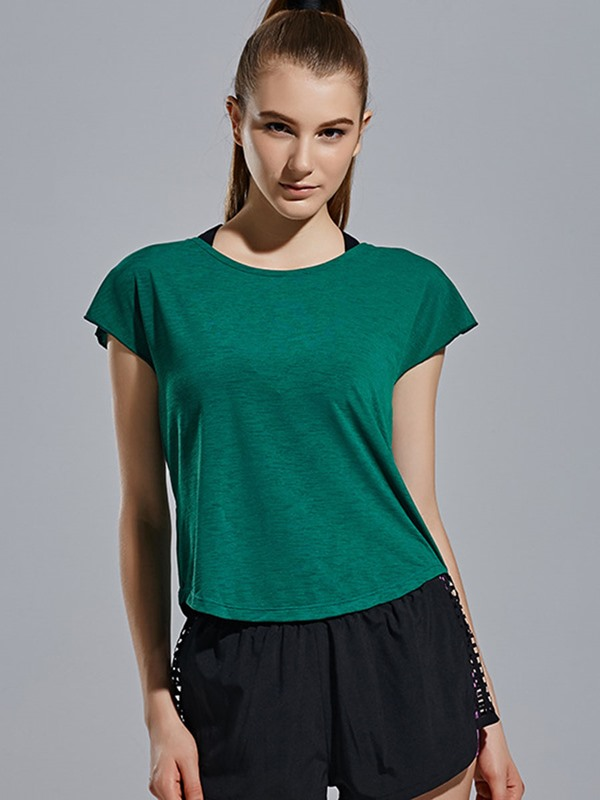 Pure Color Short Sleeve Strappy Back Design Women Sport T-Shirt