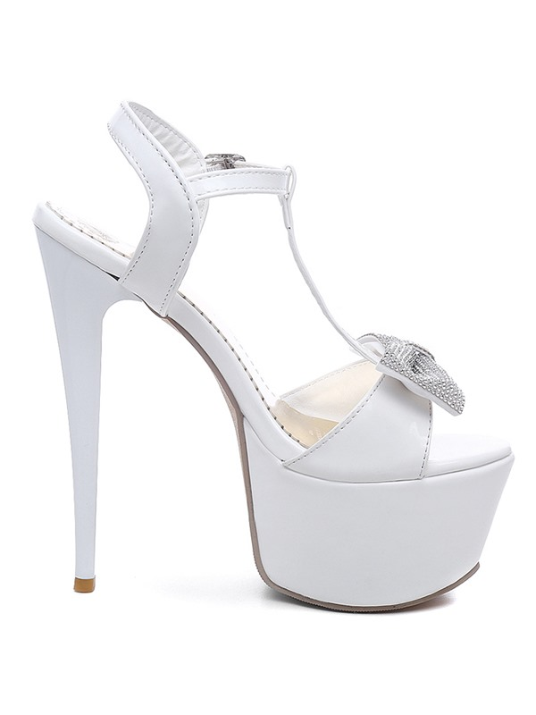 PU T-Shaped Buckle Platform Sky-High Heel Sandals