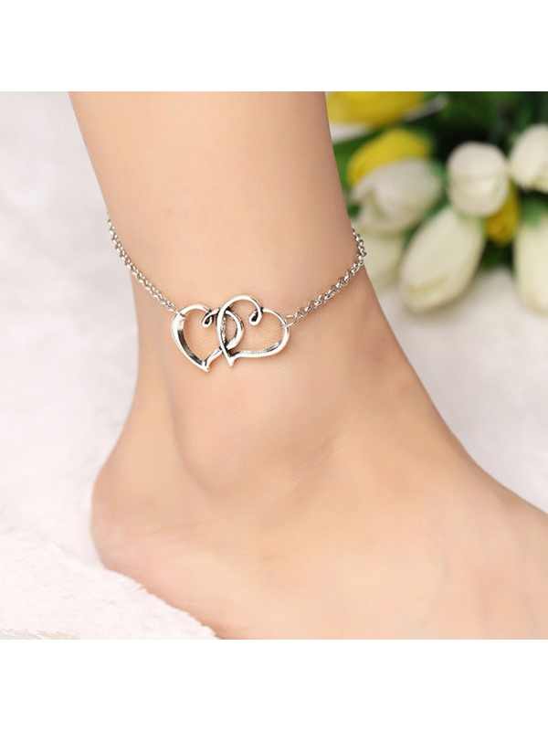 Double Alloy Heart-Shaped Design Chain Anklet