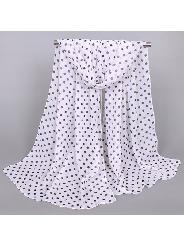 Little Dots Embellished Thin Chiffon Scarf