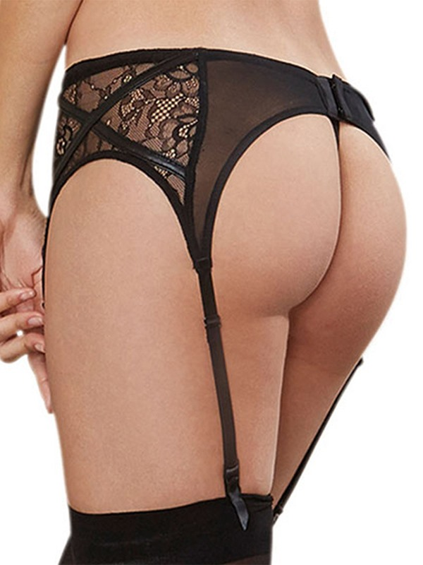 Black Cut-Out Garter with Thong(Not Include Stockings)