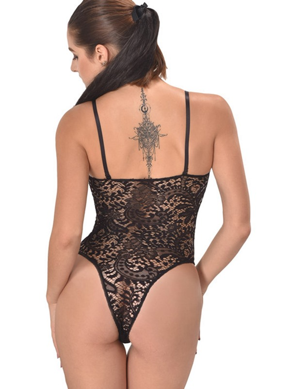 Black Lace Plant Cut-Out Teddy