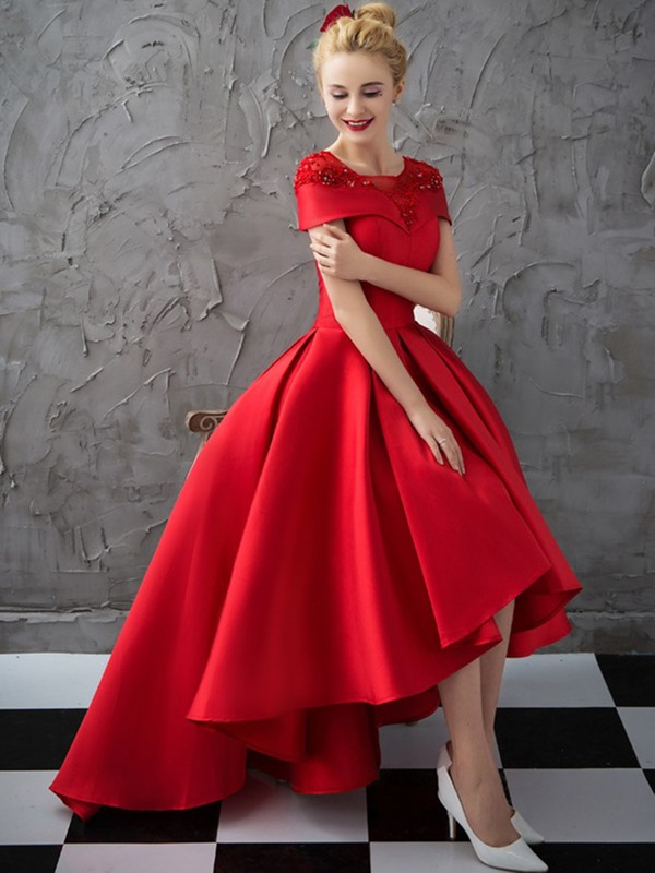 Pretty Scoop Ball Gown Cap Sleeves Appliques Crystal Asymmetry Evening Dress